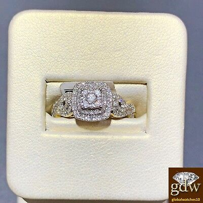 Real 10k Yellow Gold and Diamond Women's Bridal ring for Wed