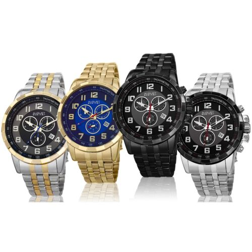 Mens August Steiner AS8118 Chronograph Multifunction Date Stainless Steel Watch