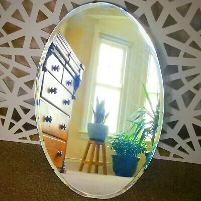 Large Vintage Bevel Edge Oval Mirror; Wooden Back; 74 x 48 cm Collection Swansea