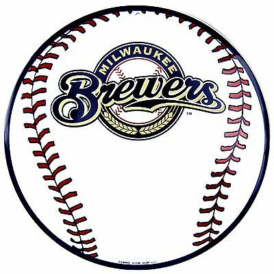 Mlb Circle - MLB Milwaukee Brewers Embossed Metal 12