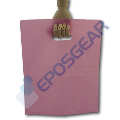 50 Large Pink Punch Out Handle Gift Fashion Party Market Plastic Carrier Bags