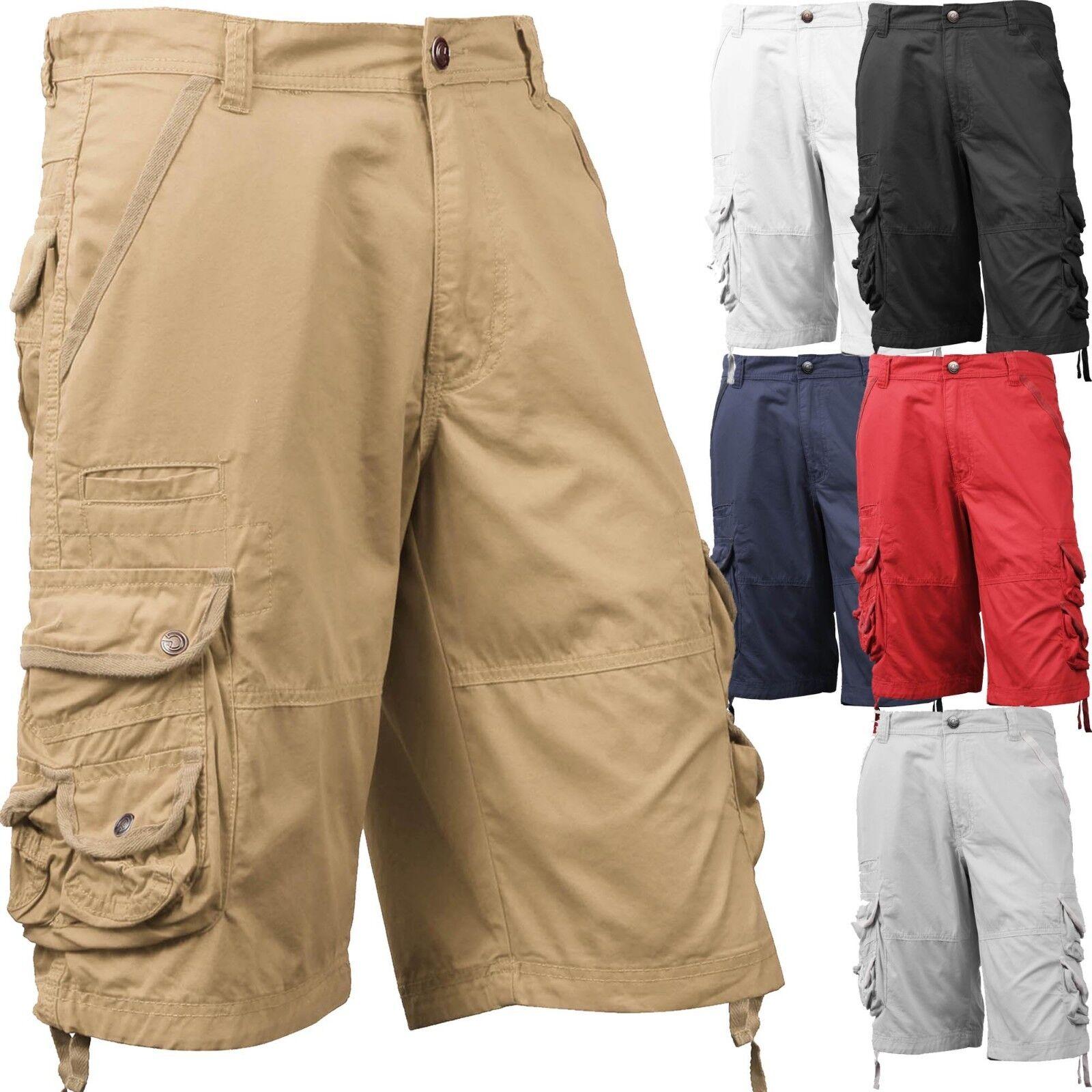 Mens Cargo Shorts Casual Multi Pocket Short Twill Cotton Pan
