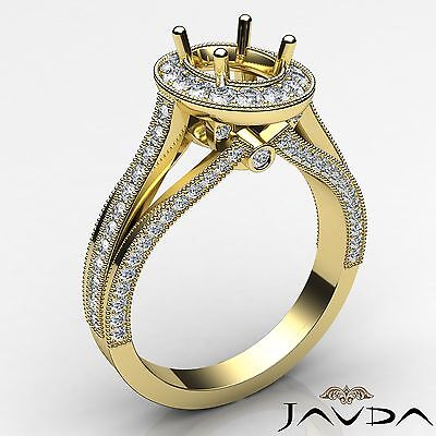Halo 0.9 Carat Diamond Engagement 18k Yellow Gold Oval Semi Mount Millgrain Ring