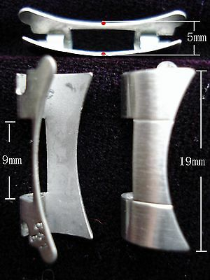 A PAIR OF STEEL ALL BRUSHED END PIECES FOR ROLEX 19MM OYSTER WATCH BAND BRACELET