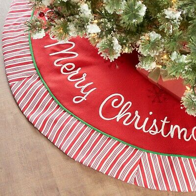 """Holiday Time Fleece Christmas Tree Skirt with Candy Striped Border, 48"""""""
