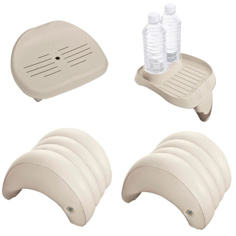 Intex Inflatable Hot Tub Seat, Attachable Cup Holder, Inflatable Head Rest (2)