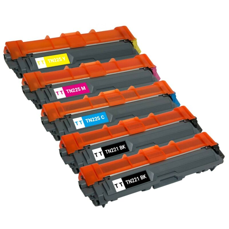 5x TN221 TN225 High Yield Toner Cartridge for Brother MFC-9130CW 9330CDW 9340CDW