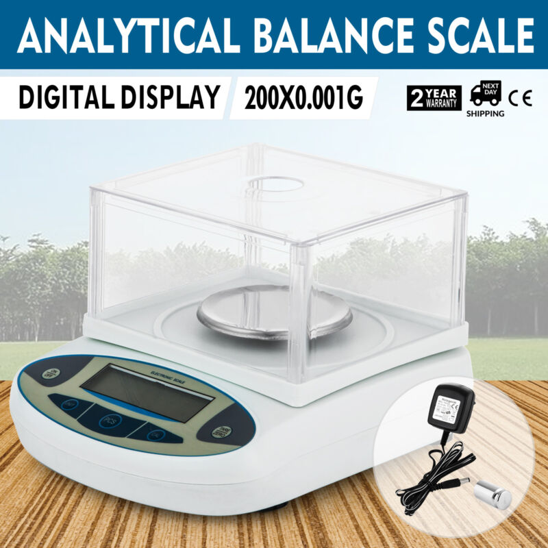 200x0.001g 1mg Lab Balance Electronic Scale Analytical for Laboratories LCD