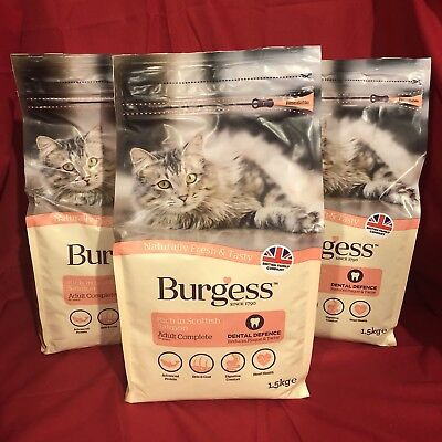 3 Burgess Dry Adult Cat Food Salmon Dental Care Digestion Urinary Skin Coat 1.5k