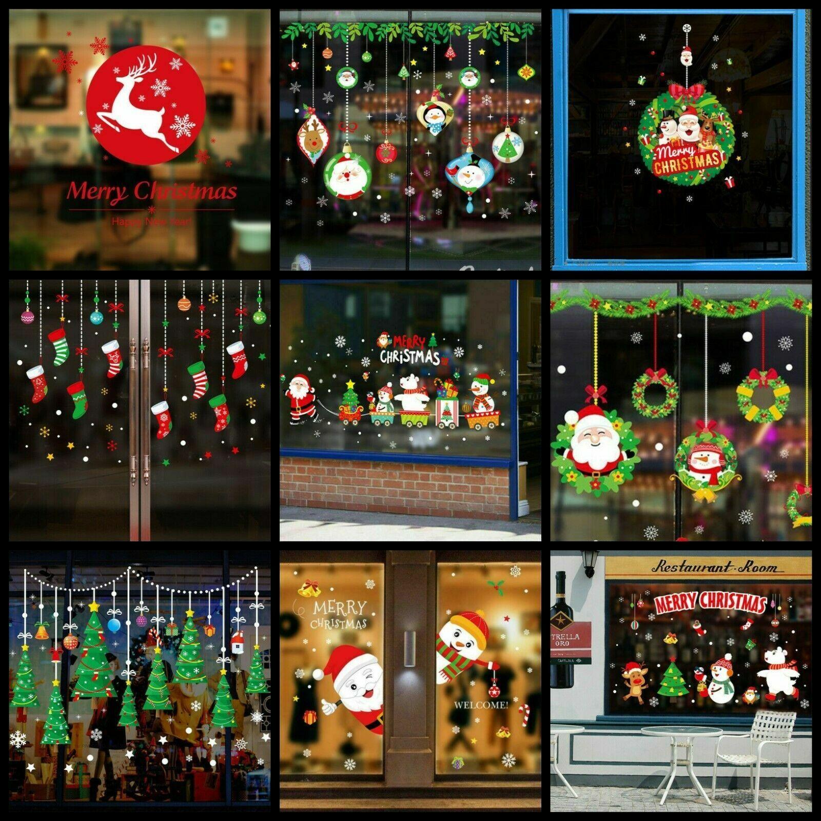 Home Decoration - Christmas Xmas Santa Removable Window Stickers Art Decal Home Shop Decor UK