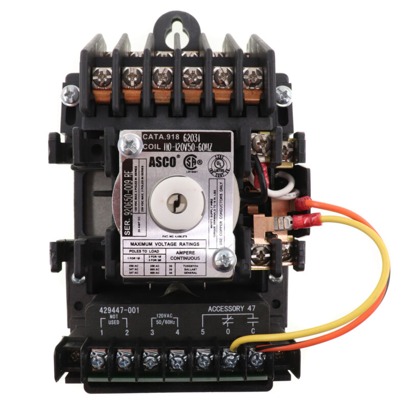 ASCO 918-62031 918-SERIES LIGHTING CONTACTOR, 6-POLE, 110-120V COIL, 20-AMP