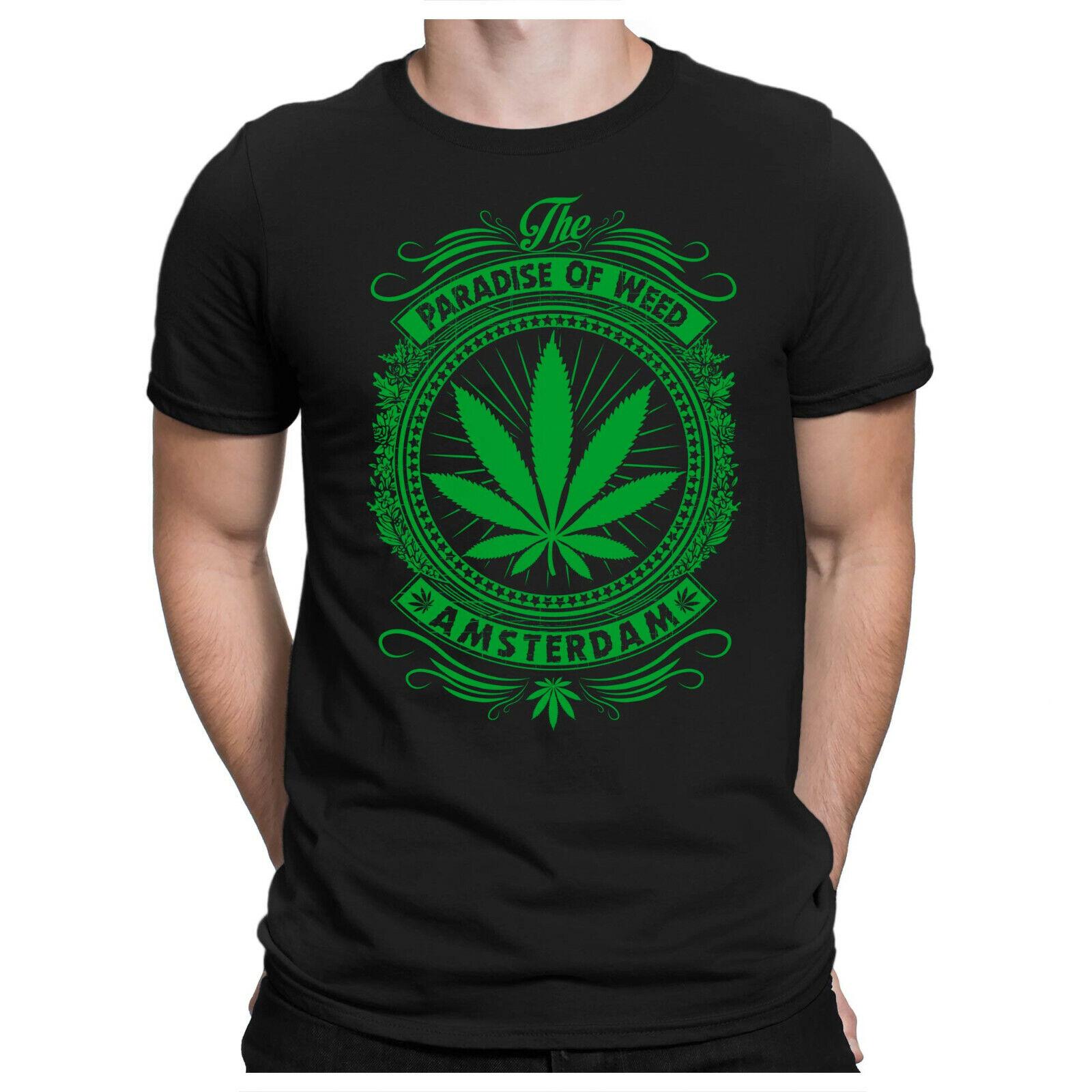 Weed Paradise Herren Fun T-Shirt - Amsterdam Holland 420 Cannabis Thc - PAPAYANA