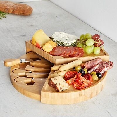 VonShef 3 Tier Fold Out Bamboo Wood Serving Cheese Board & 3 Piece Knife Set