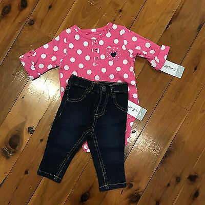 Carters Girls Denim Bodysuit Set Sz 6mths