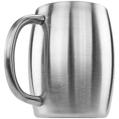 Stainless Double Wall Steel Beer Coffee Desk Beverage  Mug, Smooth 14 oz New Dinnerware & Serveware