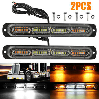 2PC Amber /White 24LED Car Truck Emergency Warning Hazard Fl
