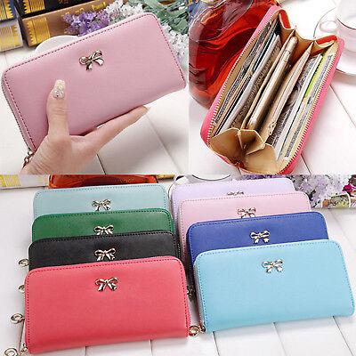 Women Fashion Lady PU Leather Zip Wallet Clutch Purse Long Card Holder Handbag