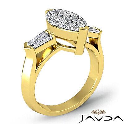 Classic Marquise Cut 3 Stone Diamond Engagement Ring GIA F SI1 Platinum 1.5 ct 4