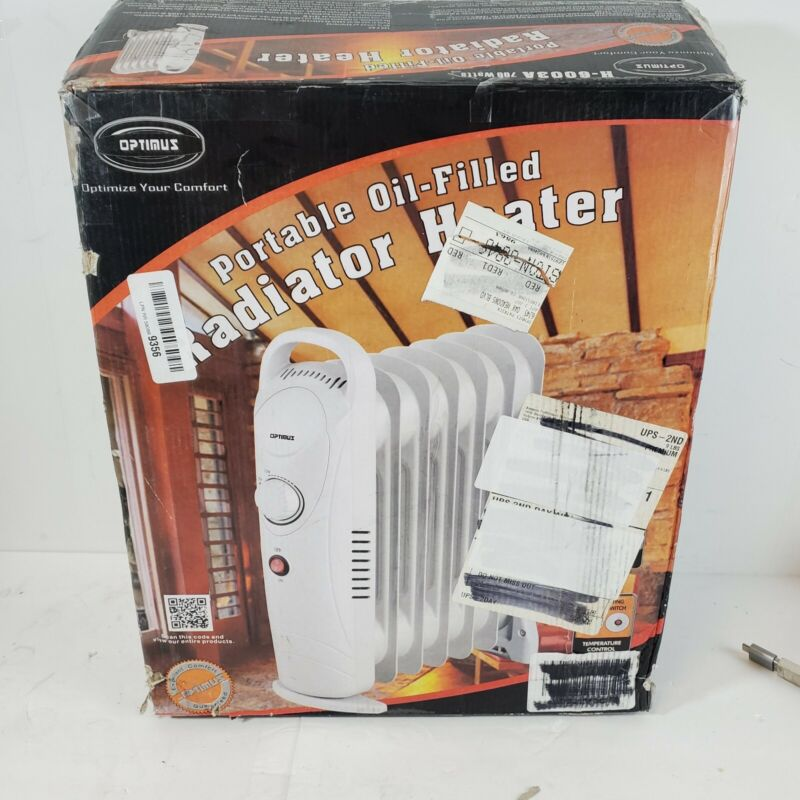 Optimus H-6003 Mini 700W Oil Filled Radiator Space Heater w/ Thermostat (Used)