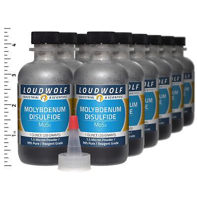 Molybdenum Disulfide 12 Oz Total 12 Bottles Reagent Grade 1.5 Micron Powder