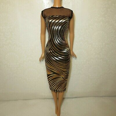Bodycon Midi Dress for Doll-Handmade Clothes for doll 11-11.5-12in