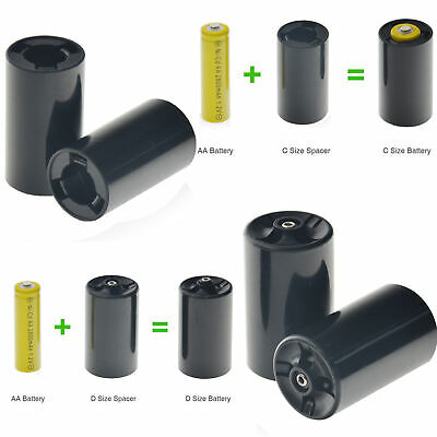 Custom C/D Size Battery Spacers for AA Rechargeable Ni-MH/NI-CD Alkaline -