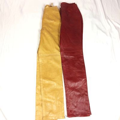 NWOT Womens Sz 6 8 Real Leather Pants 100% Genuine Brown Red Biker Motorcycle (Real Leather Womens Pants)