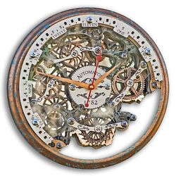 Automaton Bite 1782 Steel Frame Wooden Wall Clock Moving Gears Free Personalized