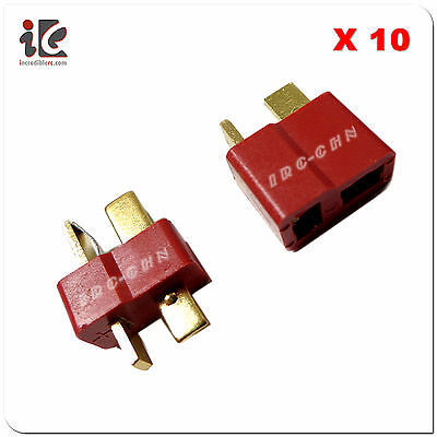 10 Pairs T Plug Connector Dean Ultra T Plug for RC Truck Cars Boat Lipo Battery