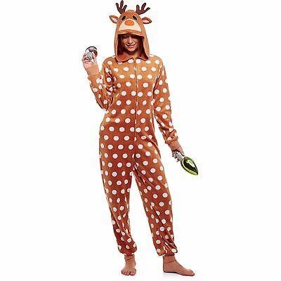 NEW Women's Christmas Rain Deer Costume Critter Hood One Piece Pajama S M L XL - Raindeer Costumes