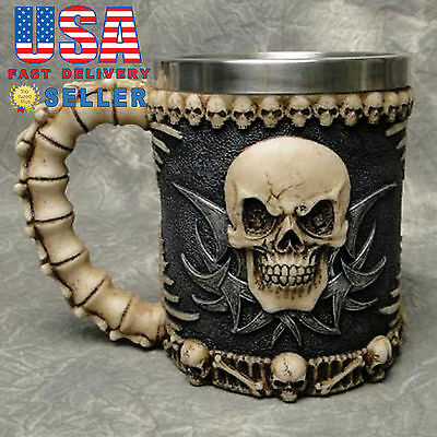 Skull & Bone 3D Skeleton Tankard Mug Cup Coffee Beer Pirate Gothic Halloween - Halloween Coffee Cups