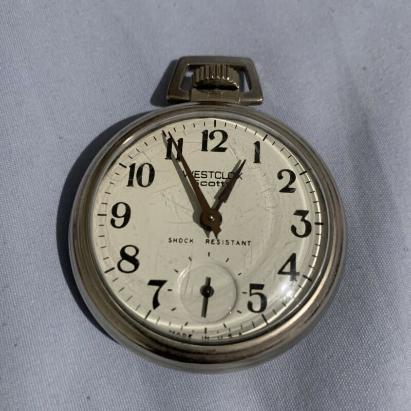 Vintage Westclox Scotty Pocket Watch Works