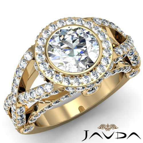 Halo Cross Shank Round Diamond Pave Bezel Set Engagement Ring GIA F VS2 2.97Ct
