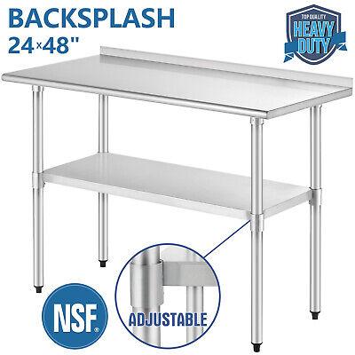 Commercial 24x48 Restaurant Prep Work Table W Backsplash Stainless Steel
