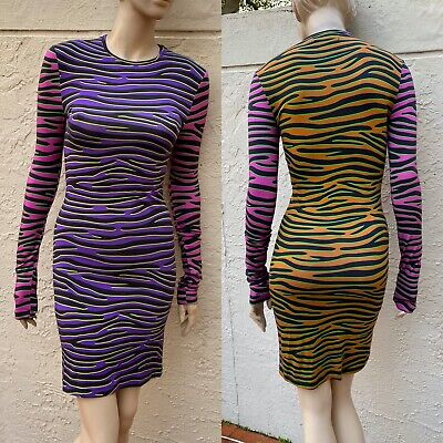 HOUSE OF HOLLAND SEXY BODYCON MULTICOLOR ZEBRA STRIPED DRESS SZ 4