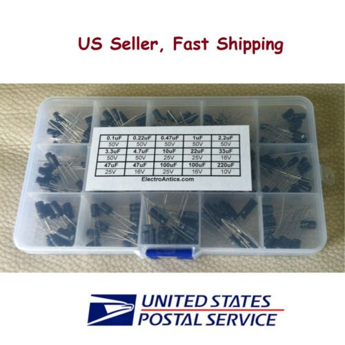 200 pcs Electrolytic Capacitor Assortment Kit with box 15 Values - US Seller