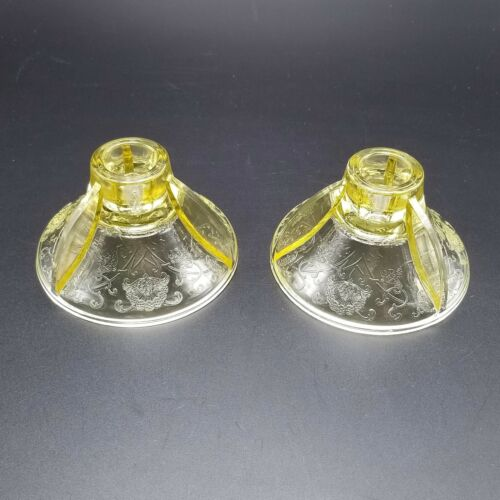 Vintage Hazel Atlas Glass Yellow Florentine Poppy #2 Candlestick Holders 2 pcs