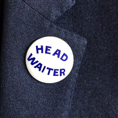 Vintage Silver Plated Blue & White Enamelled Head Waiter Badge Brooch Lapel Pin