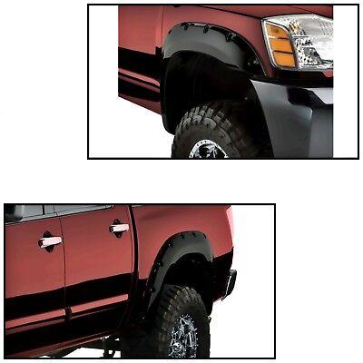 - Black Pocket Front & Rear Fender Flares Fits Nissan Titan Bedside Lockbox Only