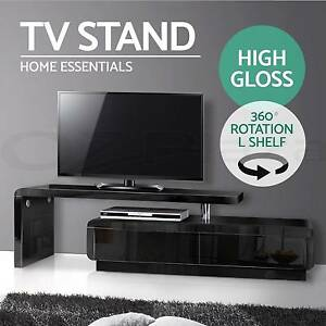 High Gloss Black TV Stand Entertainment Unit Rotatable L Shelf Sydney City Inner Sydney Preview