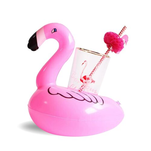 Inflatable Flamingo Float Water Bottle Drink Cup Holder Beverage Boat Pool Party