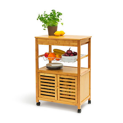 Küchenrollwagen JAMES XL Servierwagen Küchentrolley Rollwagen Küchenwagen Bambus