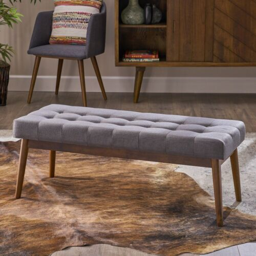 Flora Mid-Century Button Tufted Fabric Ottoman Bench with Tapered Legs Furniture
