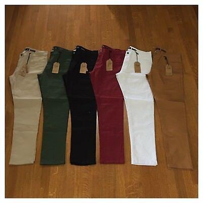 Brand New Mens Size 36 Fashion Denim Stretch Pants Khaki Black White Green (Khaki Mens Jeans)