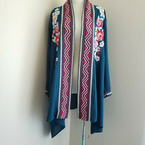 NWT Andree by Unit Embroided Open Front Duster Kimono 2X Plu