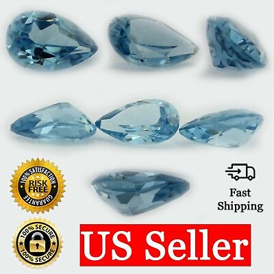Loose Pear Shape Aquamarine CZ Stone Single Light Blue Cubic Zirconia Birthstone