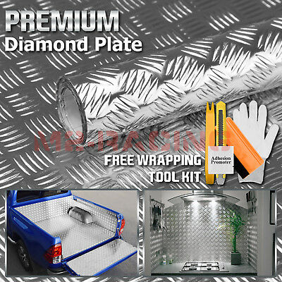 48x120 Silver Chrome Diamond Plate Vinyl Decal Sign Sheet Film Self Adhesive