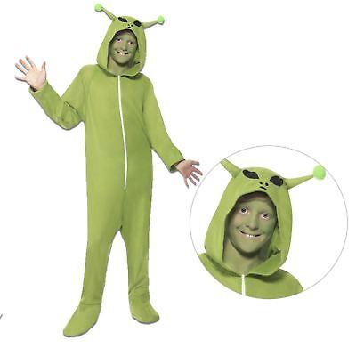 Kids Boys Girls Green Space Alien Jumpsuit Fancy Dress Costume Scifi Martian UFO (Girl Alien Costumes)