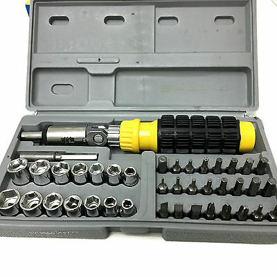 41 pc ratchet screwdriver set with bits sockets in a carry case for sal. Black Bedroom Furniture Sets. Home Design Ideas