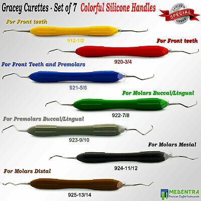 Dental Gracey Curette Cavity Removal Silicone Handles Periodontal Surgical Ce